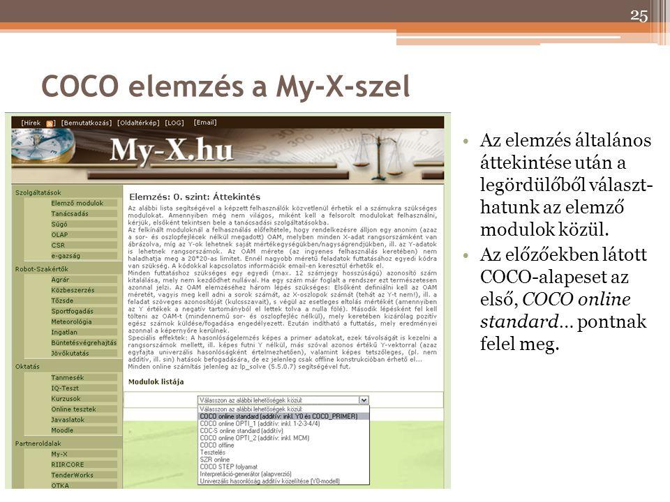 COCO elemzés a My-X-szel Az elemzés általános áttekintése után a legördülőből választ- hatunk az elemző modulok közül. Az előzőekben látott COCO-alape