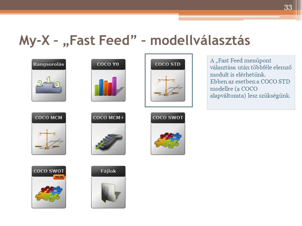 """My-X – """"Fast Feed"""" – modellválasztás A """"Fast Feed menüpont választása után többféle elemző modult is elérhetünk. Ebben az esetben a COCO STD modellre"""