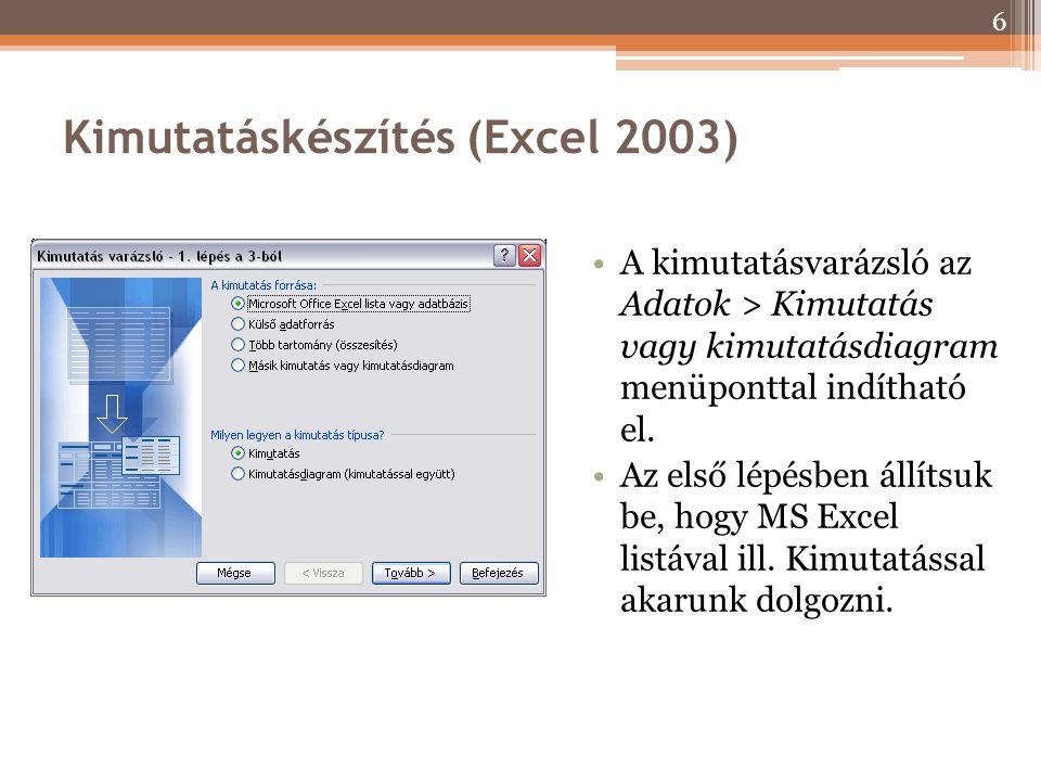 Kimutatáskészítés (Excel 2003) A kimutatásvarázsló az Adatok > Kimutatás vagy kimutatásdiagram menüponttal indítható el. Az első lépésben állítsuk be,