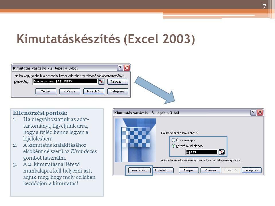 Kimutatáskészítés (Excel 2003) Ellenőrzési pontok: 1.Ha megváltoztatjuk az adat- tartományt, figyeljünk arra, hogy a fejléc benne legyen a kijelölésbe