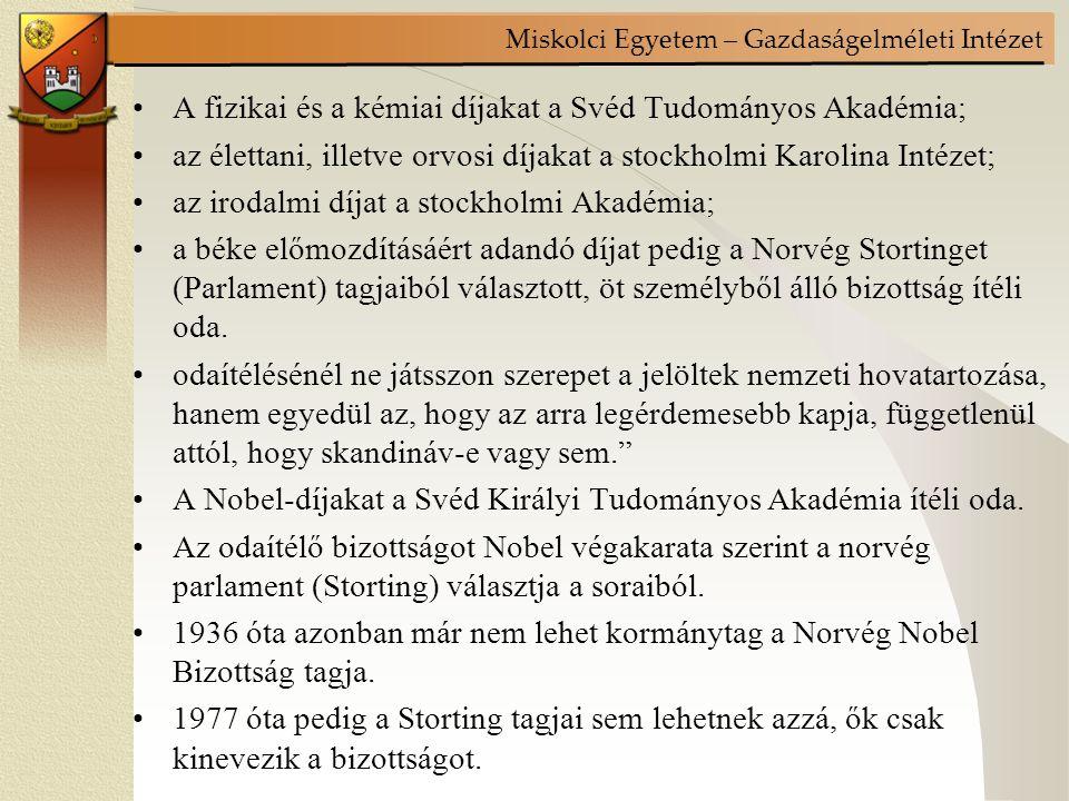 Miskolci Egyetem – Gazdaságelméleti Intézet A 30-as 40-es években Shackle 5 olyan területet azonosít, mely a közgazdaságtannak új irányt adott: –Robinson és Chamberlain a nem tökéletes piacok és monopolisztikus verseny elmélete –Hicks által visszahozott Edgeworth-féle közömbösségi görbe –Keynes hatékony kereslet elmélete –Morgenstern ás Neumann játékelmélete –a svéd iskola ex-ante és ex post koncepciója E szellemi pezsgés legmeghatározóbb eredményét Keynes elmélete és munkássága jelentette mind a gazdaságelméletben és a gazdaságpolitikában.