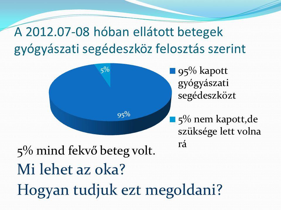 A 2012.07-08 hóban ellátott betegek gyógyászati segédeszköz felosztás szerint 5% mind fekvő beteg volt. Mi lehet az oka? Hogyan tudjuk ezt megoldani?