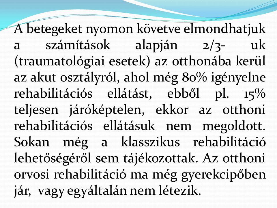 A betegeket nyomon követve elmondhatjuk a számítások alapján 2/3- uk (traumatológiai esetek) az otthonába kerül az akut osztályról, ahol még 80% igény