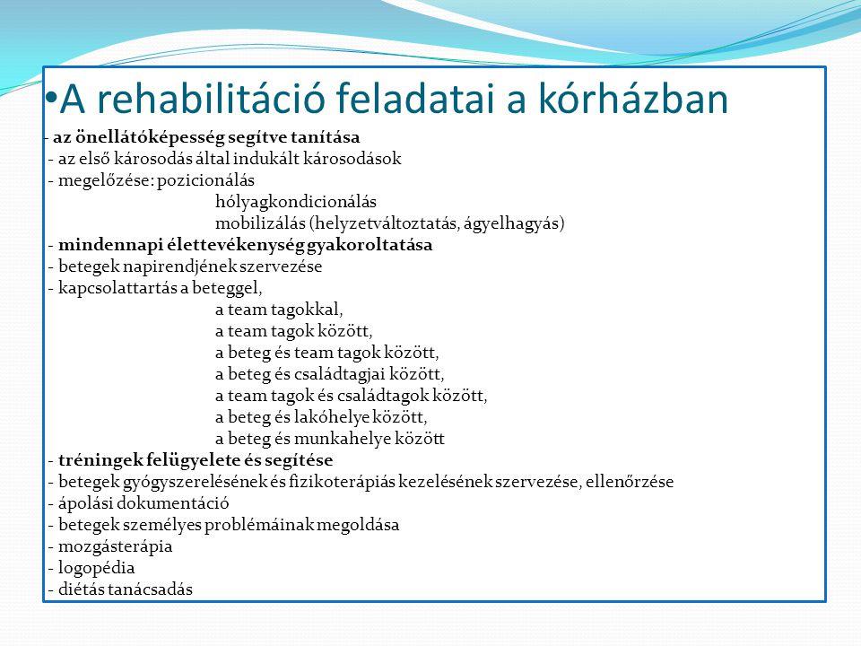 A rehabilitáció feladatai a kórházban - az önellátóképesség segítve tanítása - az első károsodás által indukált károsodások - megelőzése: pozicionálás