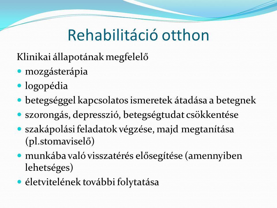 Rehabilitáció otthon Klinikai állapotának megfelelő mozgásterápia logopédia betegséggel kapcsolatos ismeretek átadása a betegnek szorongás, depresszió