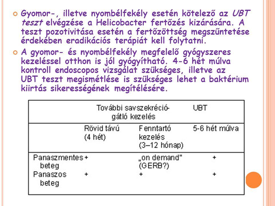 Gyomor-, illetve nyombélfekély esetén kötelező az UBT teszt elvégzése a Helicobacter fertőzés kizárására.