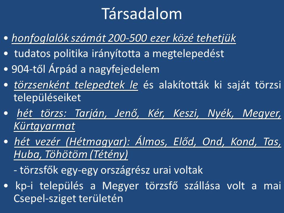 Társadalom honfoglalók számát 200-500 ezer közé tehetjük tudatos politika irányította a megtelepedést 904-től Árpád a nagyfejedelem törzsenként telepe