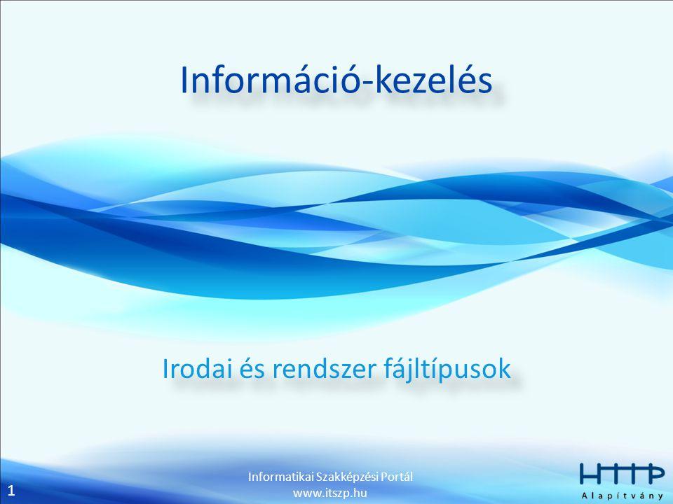 1 Informatikai Szakképzési Portál www.itszp.hu Információ-kezelés Irodai és rendszer fájltípusok
