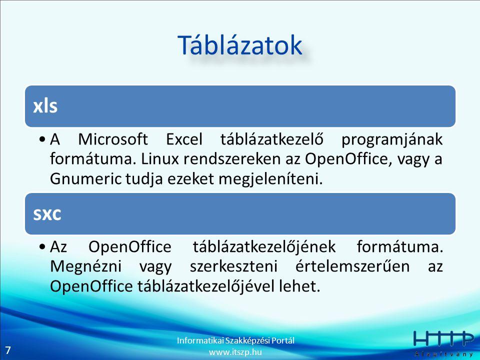 7 Informatikai Szakképzési Portál www.itszp.hu Táblázatok xls A Microsoft Excel táblázatkezelő programjának formátuma. Linux rendszereken az OpenOffic