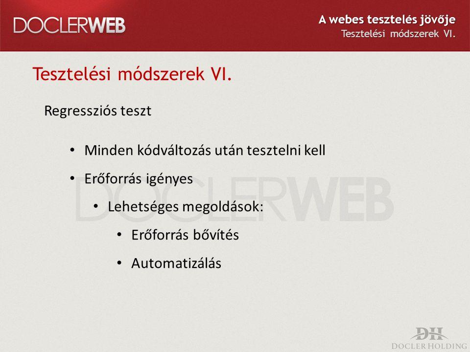Tesztelési módszerek VI. Regressziós teszt Minden kódváltozás után tesztelni kell Erőforrás igényes Lehetséges megoldások: Erőforrás bővítés Automatiz