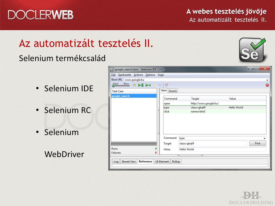 Az automatizált tesztelés II. Selenium termékcsalád Selenium IDE Selenium RC Selenium WebDriver A webes tesztelés jövője Az automatizált tesztelés II.