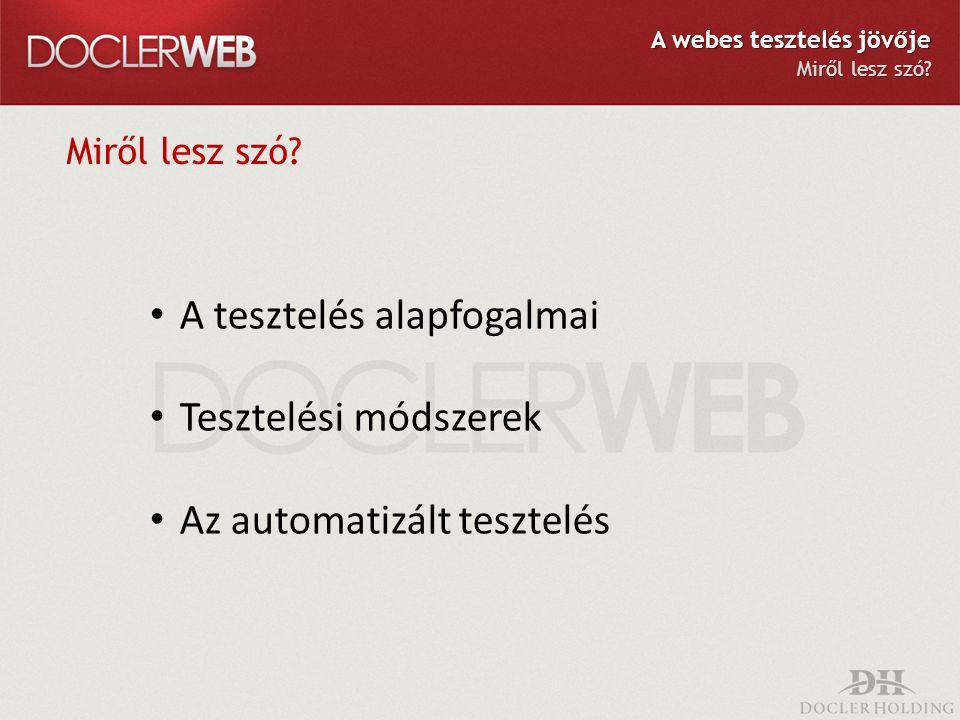 Miről lesz szó? A tesztelés alapfogalmai Tesztelési módszerek Az automatizált tesztelés A webes tesztelés jövője Miről lesz szó?