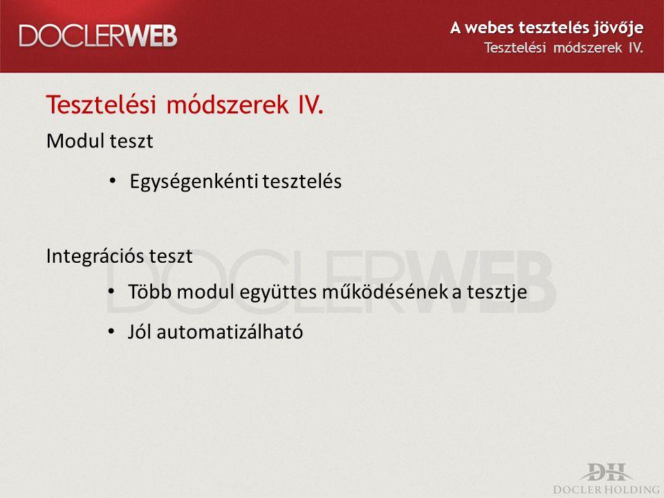 Tesztelési módszerek IV. Modul teszt Egységenkénti tesztelés Integrációs teszt Több modul együttes működésének a tesztje Jól automatizálható A webes t