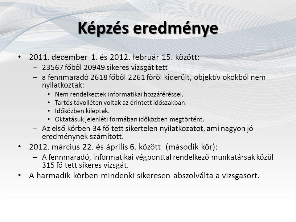 Képzés eredménye 2011. december 1. és 2012. február 15. között: – 23567 főből 20949 sikeres vizsgát tett – a fennmaradó 2618 főből 2261 főről kiderült