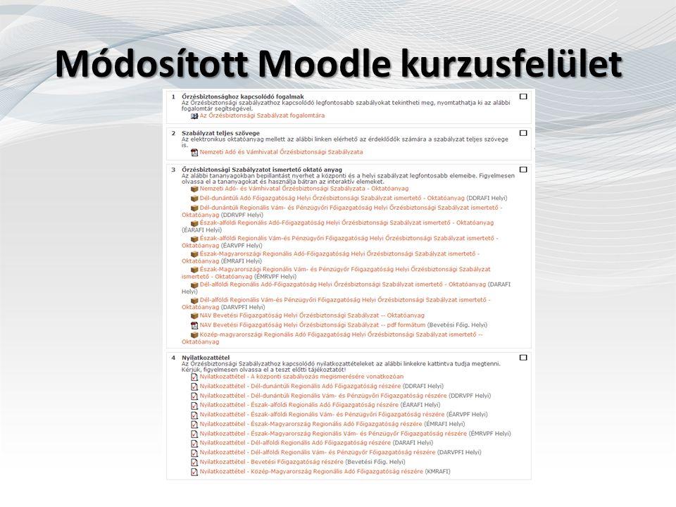 Módosított Moodle kurzusfelület