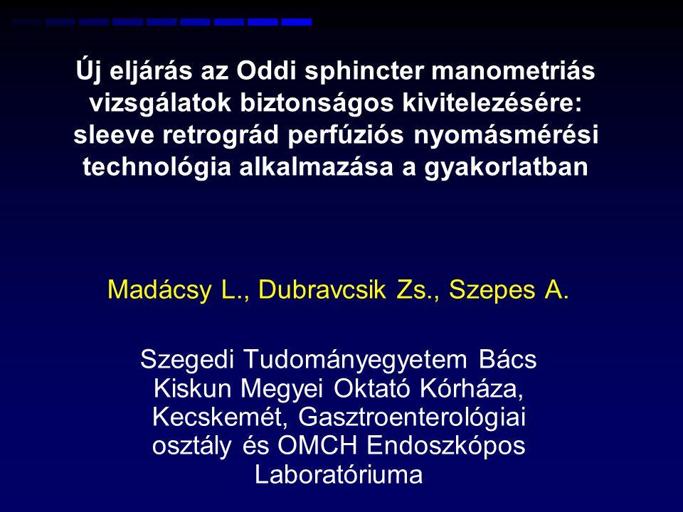 OSD PATHOMECHANIZMUS Fokozott simaizom rezisztencia – ballonos nyomás kontrollált vektor volumen impedancia mérése (FLIP) Oddi sphincteren 12 KunwaldP., Funch-Jensen P., Madácsy L.