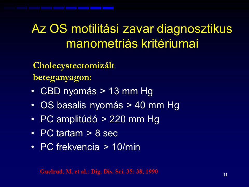 Az OS motilitási zavar diagnosztikus manometriás kritériumai CBD nyomás > 13 mm Hg OS basalis nyomás > 40 mm Hg PC amplitúdó > 220 mm Hg PC tartam > 8