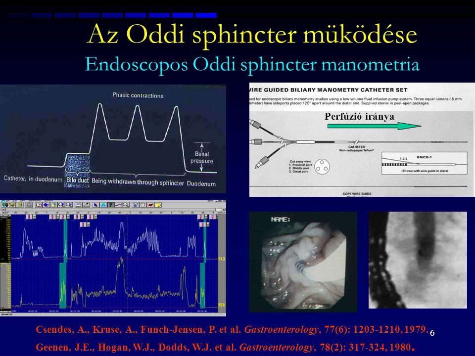 6 Az Oddi sphincter müködése Endoscopos Oddi sphincter manometria Csendes, A., Kruse, A., Funch-Jensen, P. et al. Gastroenterology, 77(6): 1203-1210,
