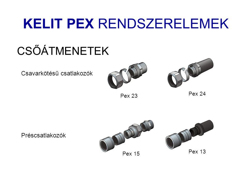 CSŐÁTMENETEK Pex 23 Pex 24 Csavarkötésű csatlakozók Pex 15 Pex 13 Préscsatlakozók
