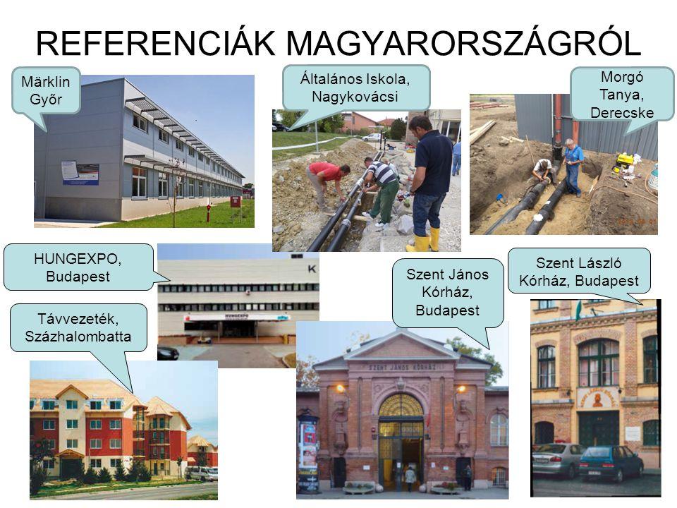 REFERENCIÁK MAGYARORSZÁGRÓL HUNGEXPO, Budapest Távvezeték, Százhalombatta Szent László Kórház, Budapest Szent János Kórház, Budapest Általános Iskola,
