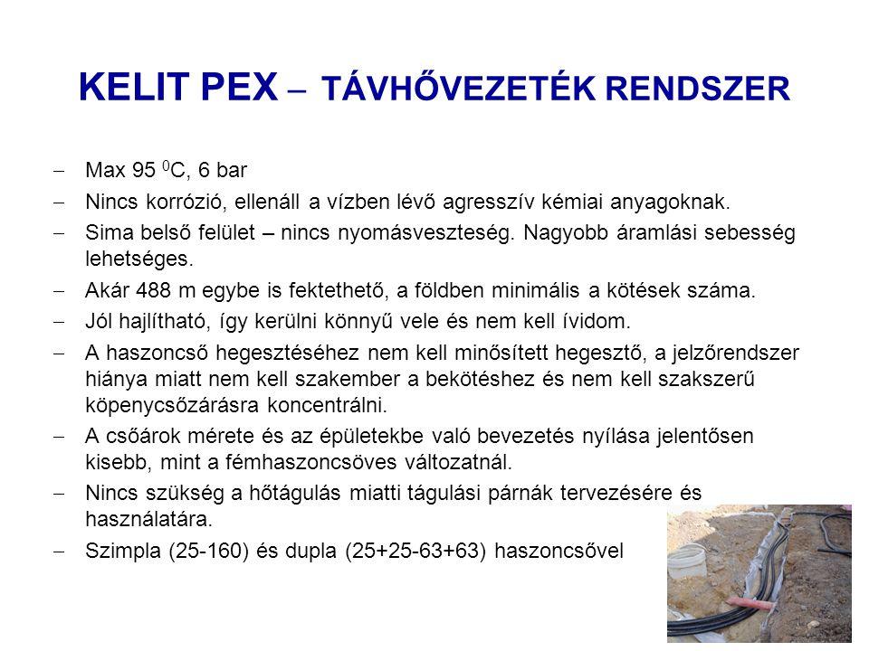 KELIT PEX – TÁVHŐVEZETÉK RENDSZER  Max 95 0 C, 6 bar  Nincs korrózió, ellenáll a vízben lévő agresszív kémiai anyagoknak.  Sima belső felület – nin