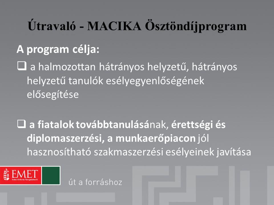 Útravaló - MACIKA Ösztöndíjprogram A program célja:  a halmozottan hátrányos helyzetű, hátrányos helyzetű tanulók esélyegyenlőségének elősegítése  a
