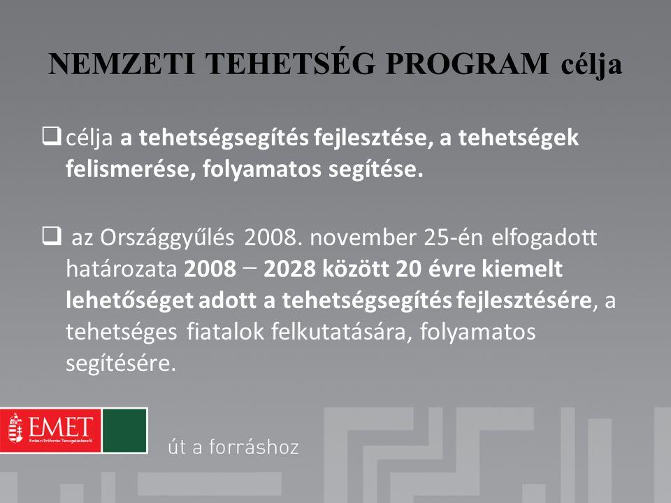 NEMZETI TEHETSÉG PROGRAM célja  célja a tehetségsegítés fejlesztése, a tehetségek felismerése, folyamatos segítése.  az Országgyűlés 2008. november