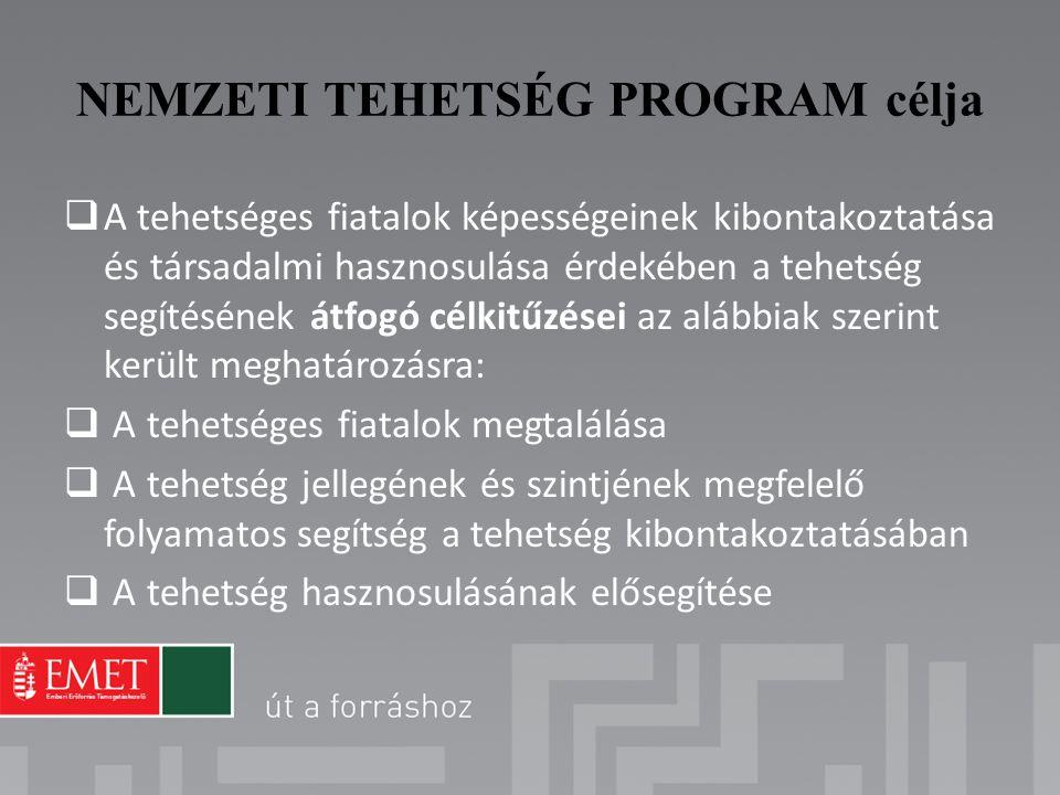 NEMZETI TEHETSÉG PROGRAM célja  A tehetséges fiatalok képességeinek kibontakoztatása és társadalmi hasznosulása érdekében a tehetség segítésének átfo