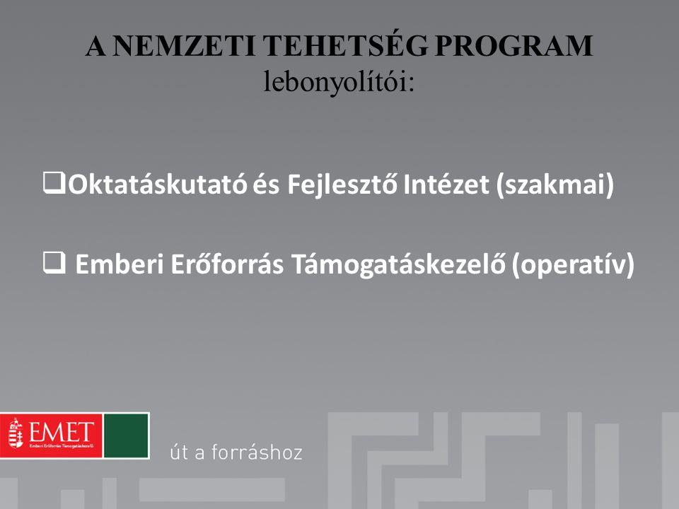 A NEMZETI TEHETSÉG PROGRAM lebonyolítói:  Oktatáskutató és Fejlesztő Intézet (szakmai)  Emberi Erőforrás Támogatáskezelő (operatív)