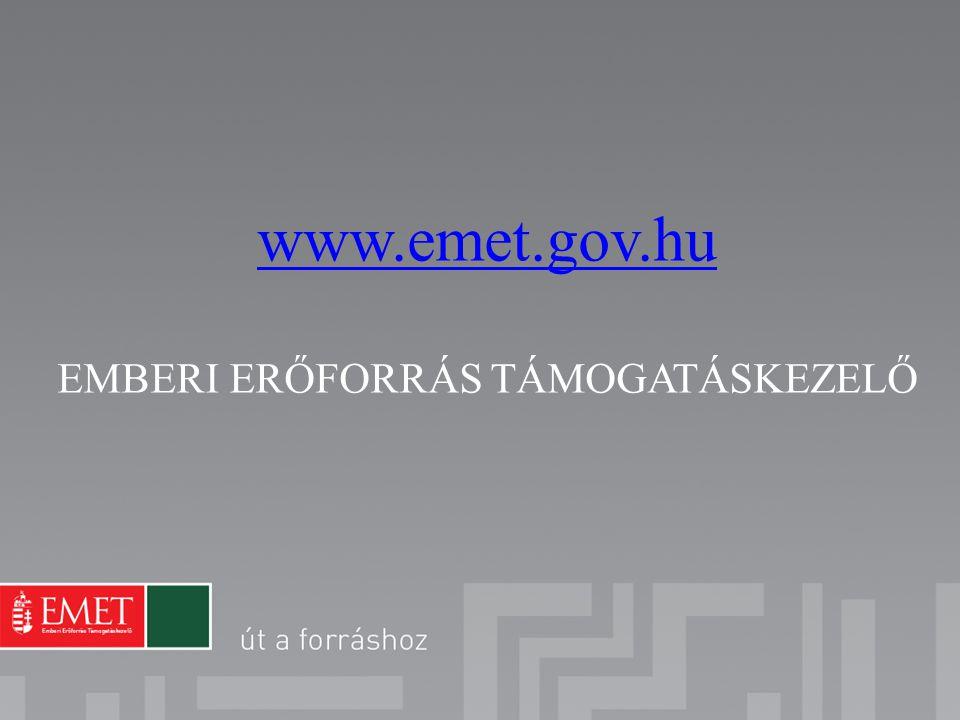www.emet.gov.hu EMBERI ERŐFORRÁS TÁMOGATÁSKEZELŐ