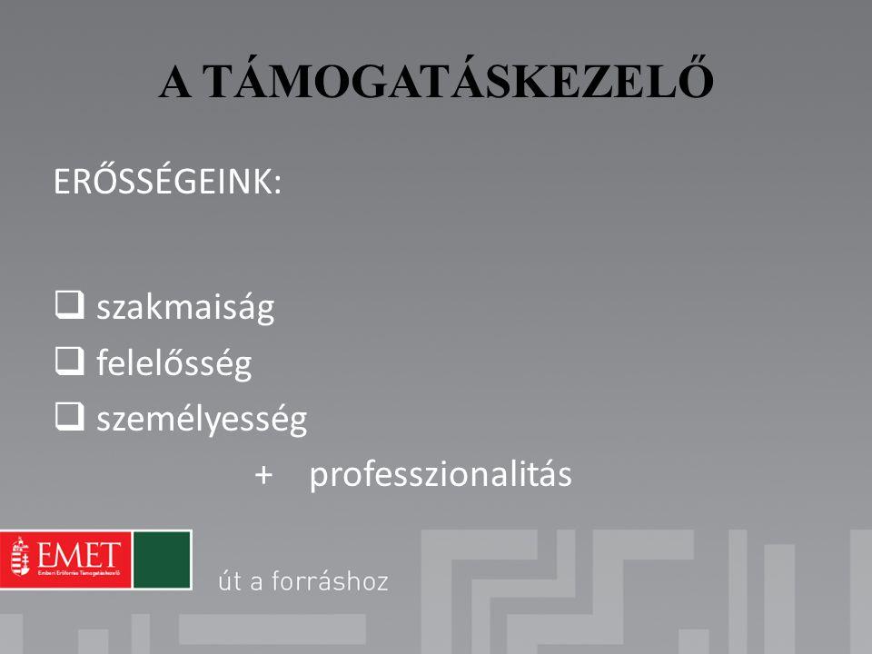 A TÁMOGATÁSKEZELŐ ERŐSSÉGEINK:  szakmaiság  felelősség  személyesség + professzionalitás