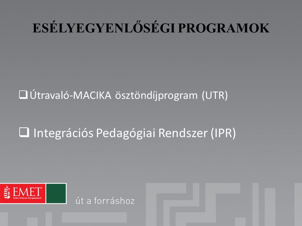 ESÉLYEGYENLŐSÉGI PROGRAMOK  Útravaló-MACIKA ösztöndíjprogram (UTR)  Integrációs Pedagógiai Rendszer (IPR)