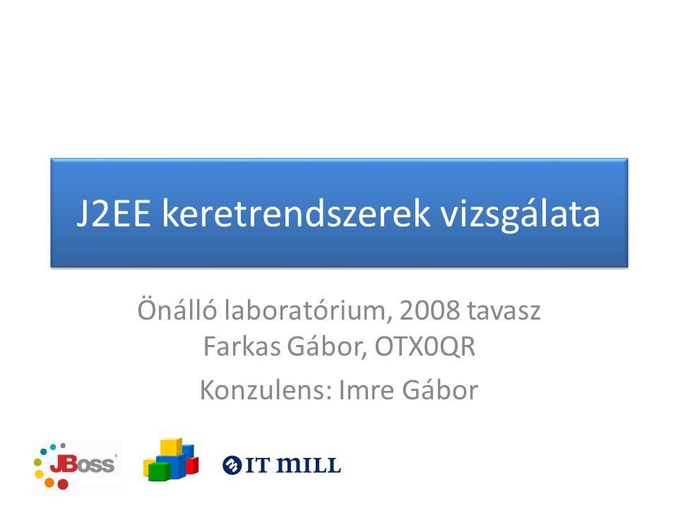 J2EE keretrendszerek vizsgálata Önálló laboratórium, 2008 tavasz Farkas Gábor, OTX0QR Konzulens: Imre Gábor