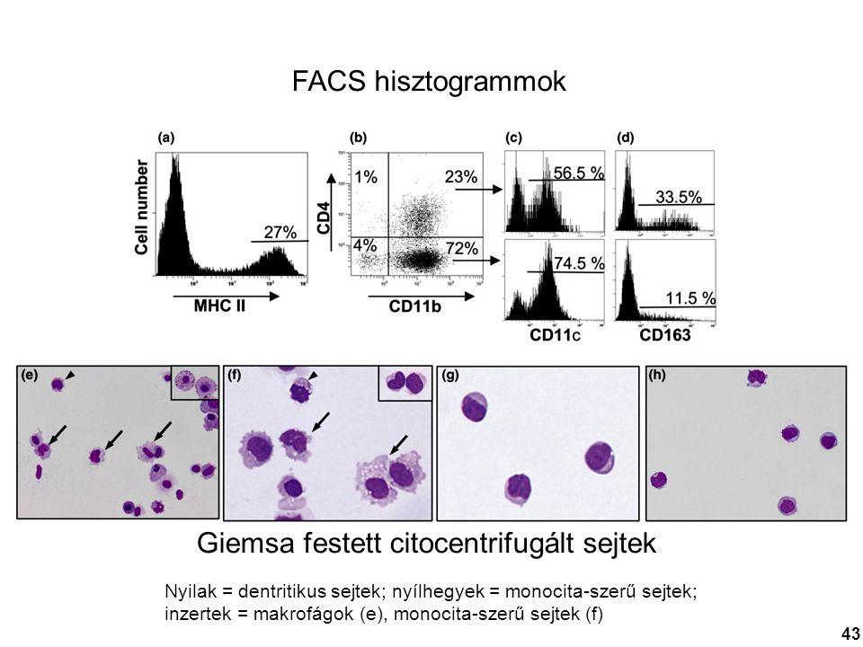 FACS hisztogrammok Giemsa festett citocentrifugált sejtek Nyilak = dentritikus sejtek; nyílhegyek = monocita-szerű sejtek; inzertek = makrofágok (e),