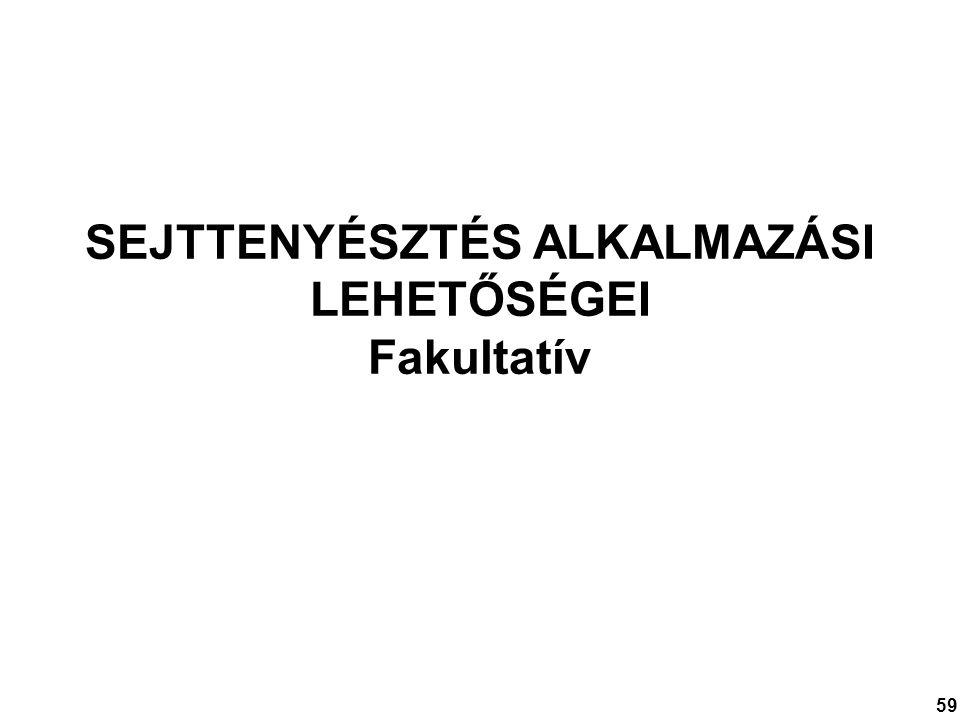 SEJTTENYÉSZTÉS ALKALMAZÁSI LEHETŐSÉGEI Fakultatív 59