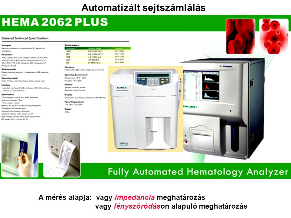 Automatizált sejtszámlálás A mérés alapja: vagy impedancia meghatározás vagy fényszóródáson alapuló meghatározás