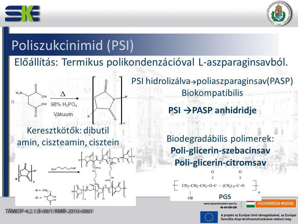 Poliszukcinimid (PSI) Előállítás: Termikus polikondenzációval L-aszparaginsavból.