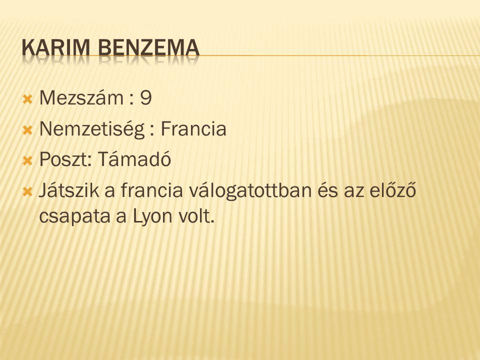  Mezszám : 9  Nemzetiség : Francia  Poszt: Támadó  Játszik a francia válogatottban és az előző csapata a Lyon volt.