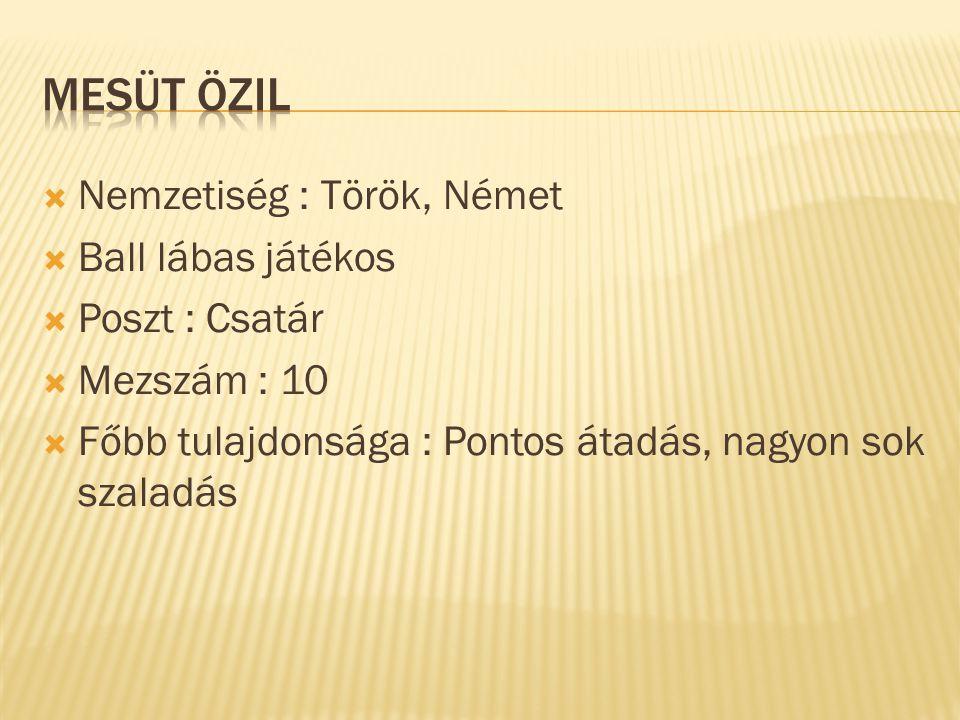  Nemzetiség : Török, Német  Ball lábas játékos  Poszt : Csatár  Mezszám : 10  Főbb tulajdonsága : Pontos átadás, nagyon sok szaladás
