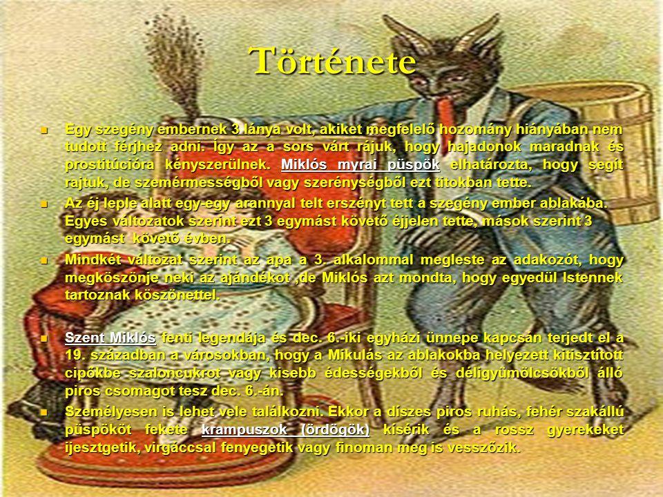Német területeken: Nikolaus, A Jézuska pedig Christkind.