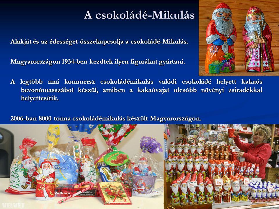A csokoládé-Mikulás Alakját és az édességet összekapcsolja a csokoládé-Mikulás. Magyarországon 1934-ben kezdtek ilyen figurákat gyártani. A legtöbb ma