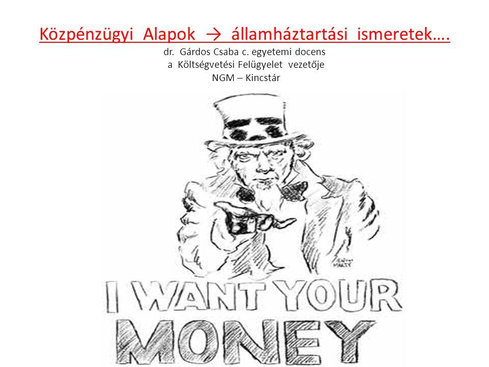 Közpénzügyi Alapok → államháztartási ismeretek…. dr. Gárdos Csaba c. egyetemi docens a Költségvetési Felügyelet vezetője NGM – Kincstár