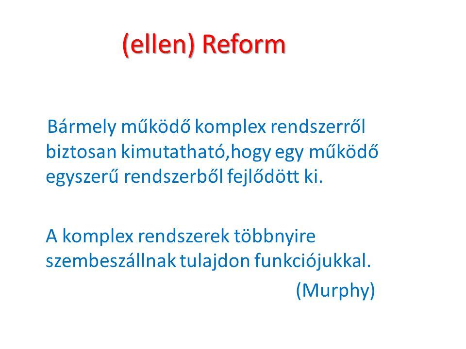 (ellen) Reform Bármely működő komplex rendszerről biztosan kimutatható,hogy egy működő egyszerű rendszerből fejlődött ki. A komplex rendszerek többnyi