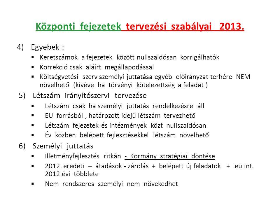 Központi fejezetek tervezési szabályai 2013. 4)Egyebek :  Keretszámok a fejezetek között nullszaldósan korrigálhatók  Korrekció csak aláírt megállap