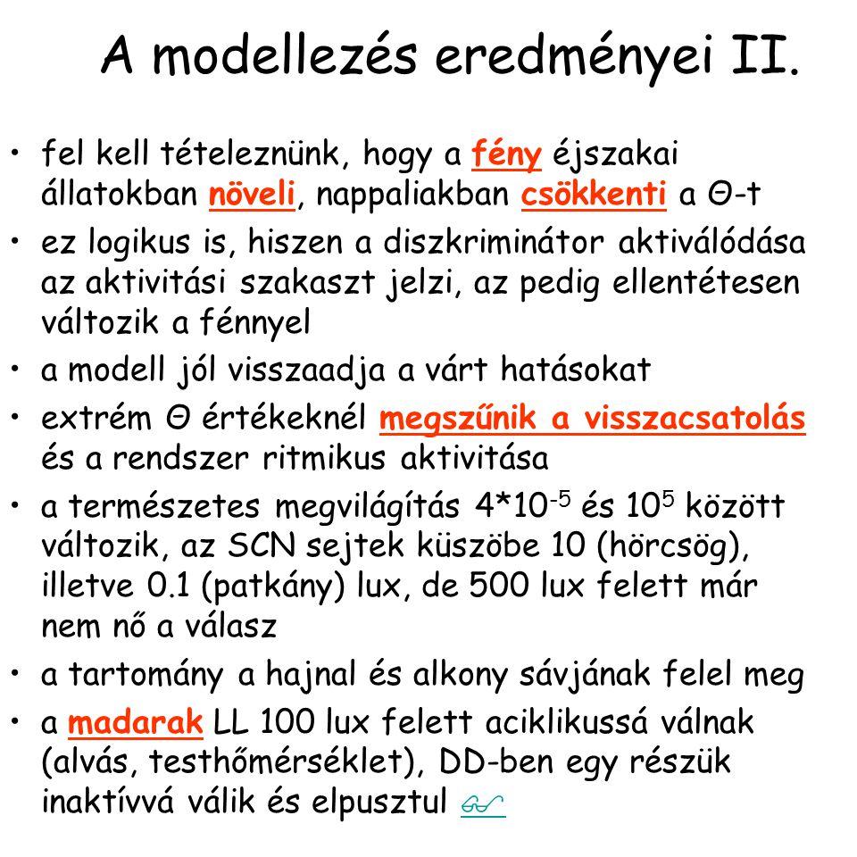 A modellezés eredményei II.
