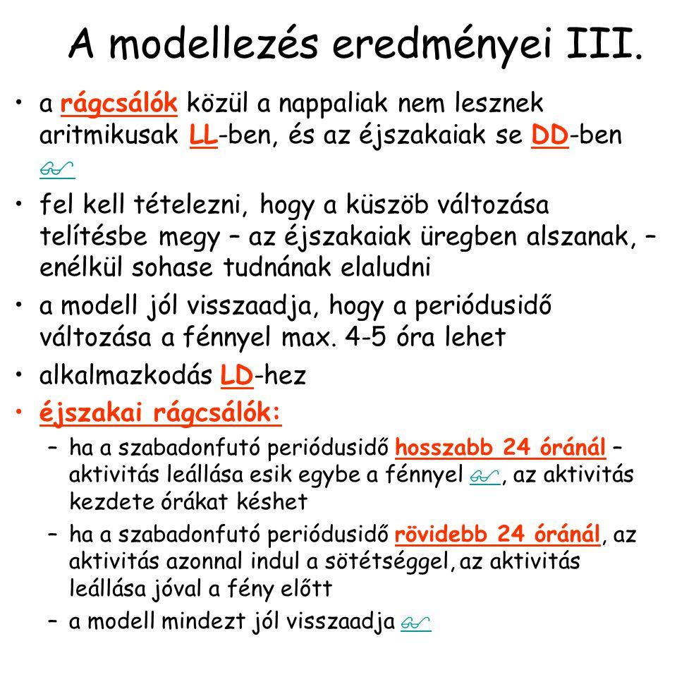 A modellezés eredményei IV.