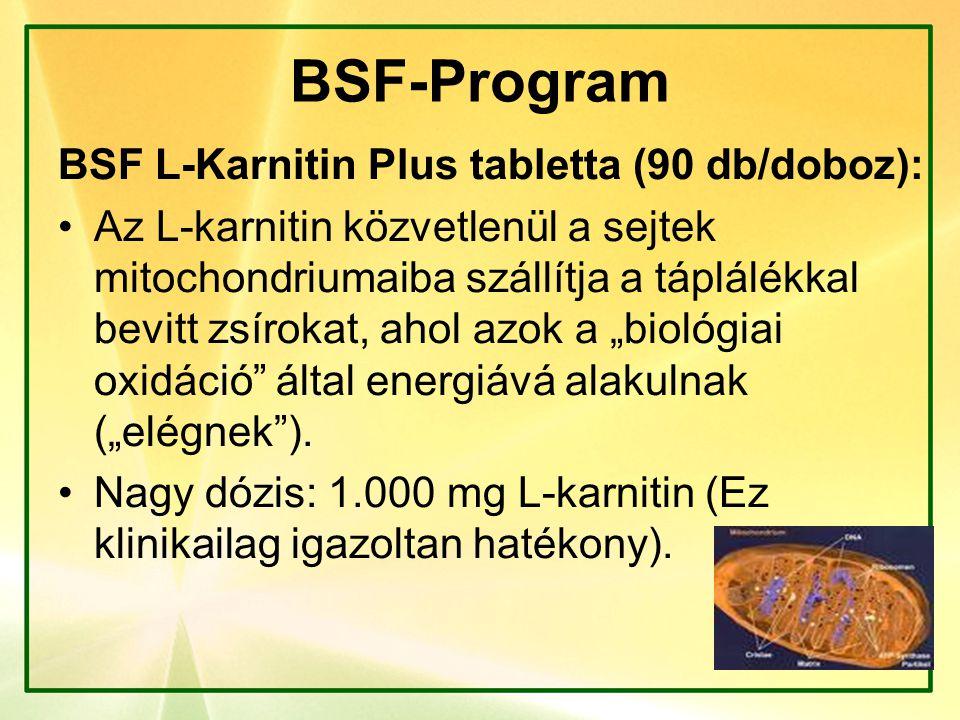 BSF-Program BSF L-Karnitin Plus tabletta (90 db/doboz): Az L-karnitin közvetlenül a sejtek mitochondriumaiba szállítja a táplálékkal bevitt zsírokat,