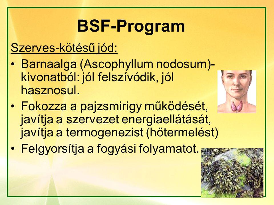 BSF-Program Szerves-kötésű jód: Barnaalga (Ascophyllum nodosum)- kivonatból: jól felszívódik, jól hasznosul. Fokozza a pajzsmirigy működését, javítja