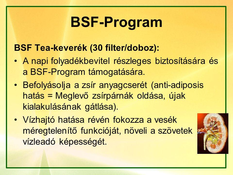 BSF-Program BSF Tea-keverék (30 filter/doboz): A napi folyadékbevitel részleges biztosítására és a BSF-Program támogatására. Befolyásolja a zsír anyag