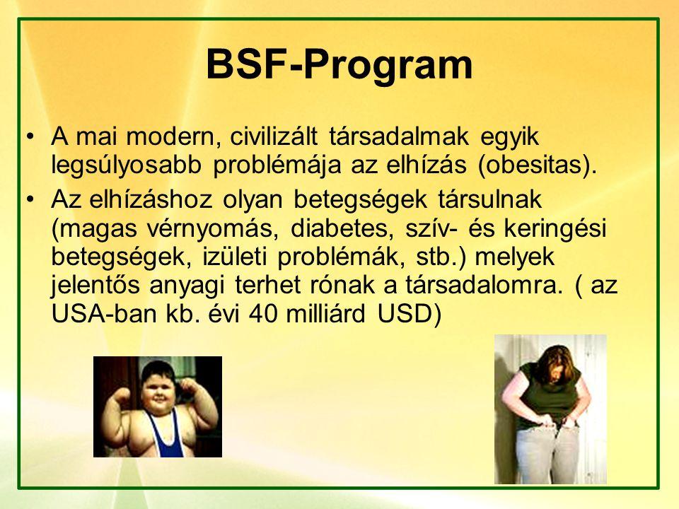 BSF-Program A mai modern, civilizált társadalmak egyik legsúlyosabb problémája az elhízás (obesitas). Az elhízáshoz olyan betegségek társulnak (magas